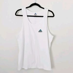 Vintage 90s Adidas White Embroidered Logo Muscle Tank Top USA Made Womens Medium
